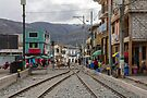 Train tracks through middle of city, Guamote, Ecuador by Kendall Anderson