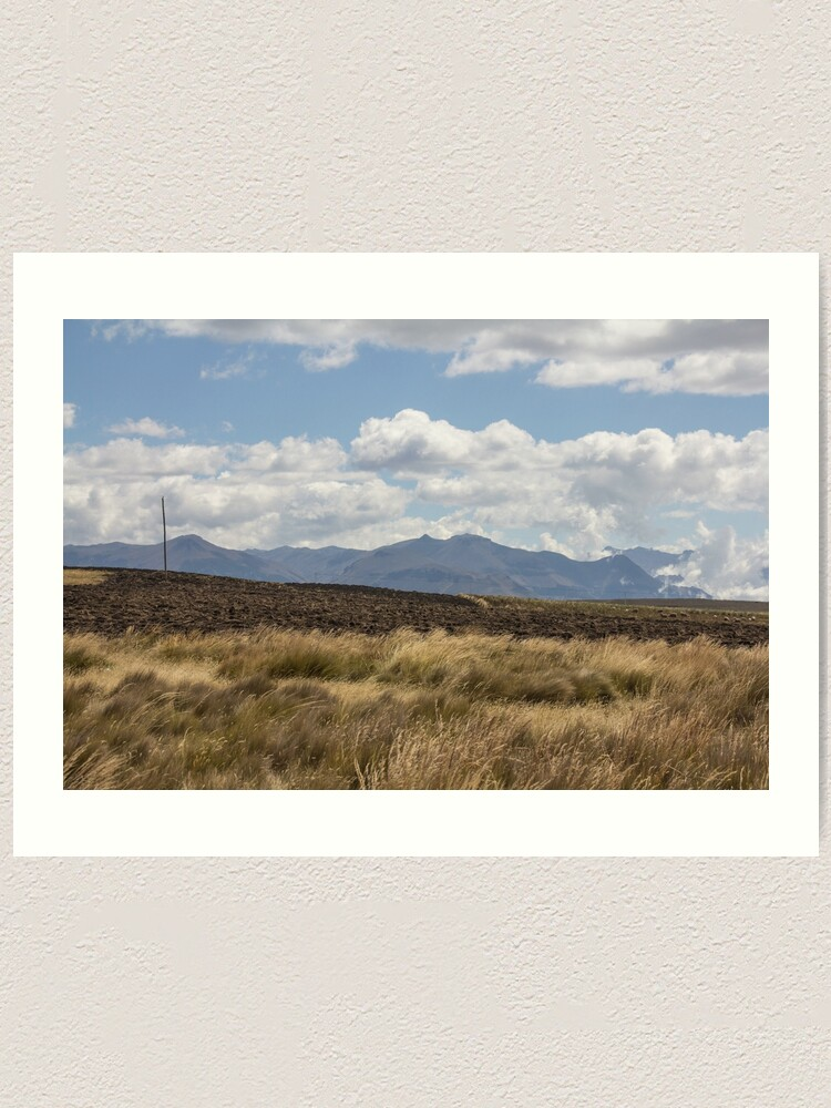 Alternate view of Grassy fields with farm pasture, mountains and clouds, Ecuador Art Print