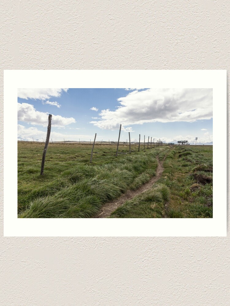 Alternate view of Farm field fence posts with dirt trail in grass, Ecuador Art Print
