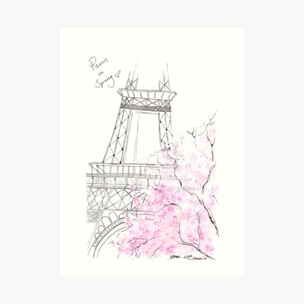 Watercolour & Ink Fashion Illustration Titled Paris in Spring Art Print