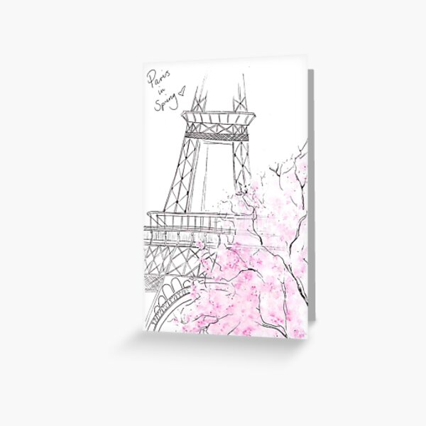Watercolour & Ink Fashion Illustration Titled Paris in Spring Greeting Card