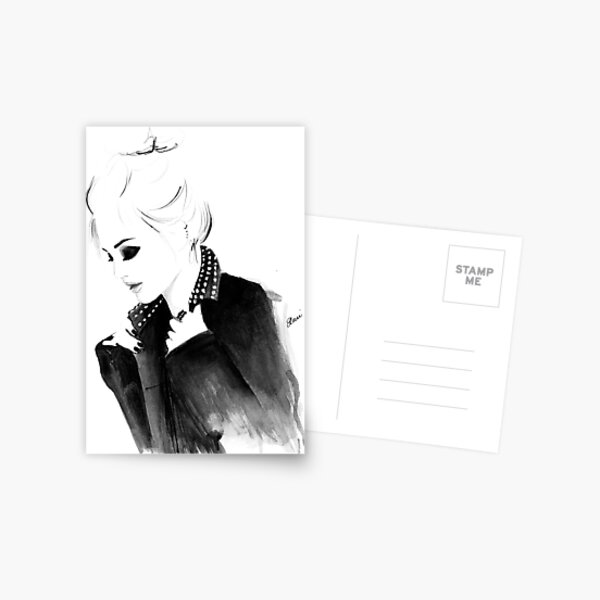 Watercolour & Ink Fashion Illustration Titled Punky Topknot Postcard
