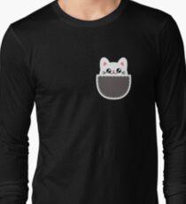 Funny Pocket Cat Tiny Chibi Kitten Long Sleeve T-Shirt