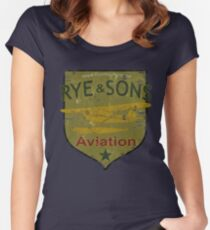 Rye & Sons Aviation FarCry 5 Piper Cub Floatplane Design Women's Fitted Scoop T-Shirt