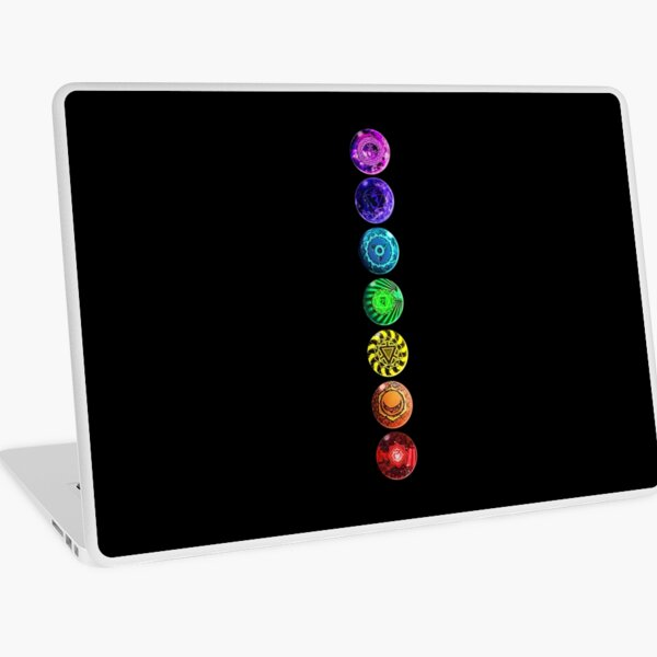 All Chakra - Transparent/Black/No Words Laptop Skin