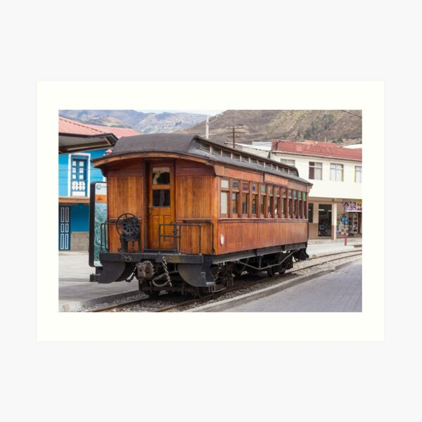 Devil's Nose wooden antique passenger train car, Alausi, Ecuador Art Print
