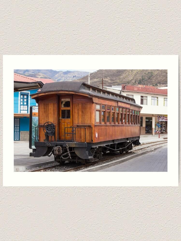 Alternate view of Devil's Nose wooden antique passenger train car, Alausi, Ecuador Art Print