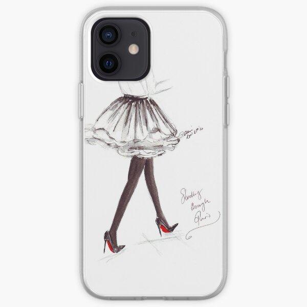 Aquarelle et encre Fashion Illustration intitulée Walking in Louboutins Coque souple iPhone