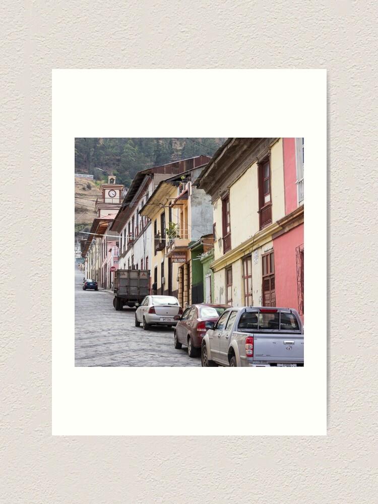 Alternate view of Steep city street with coloured buildings, Alausi, Ecuador Art Print