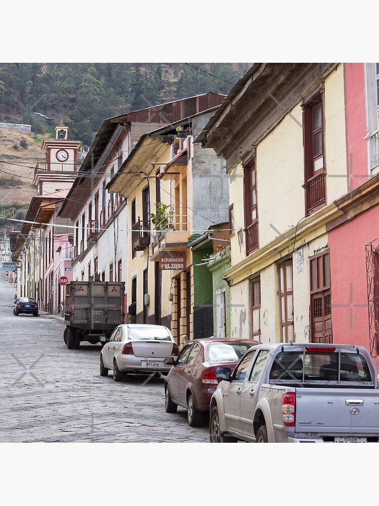 Steep city street with coloured buildings, Alausi, Ecuador by kpander