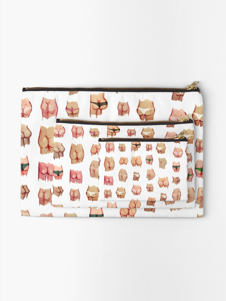 Alternate view of Water color butts Zipper Pouch
