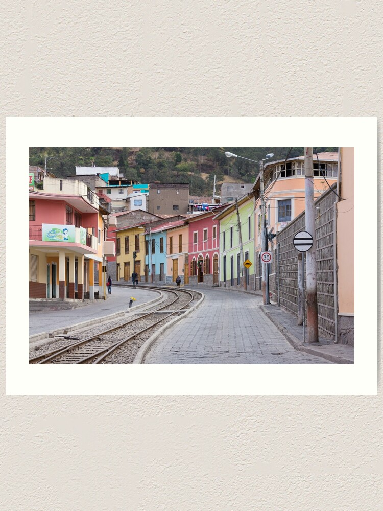 Alternate view of Railroad tracks winding through Alausi colourful streets, Ecuador Art Print