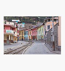 Railroad tracks winding through Alausi colourful streets, Ecuador Photographic Print