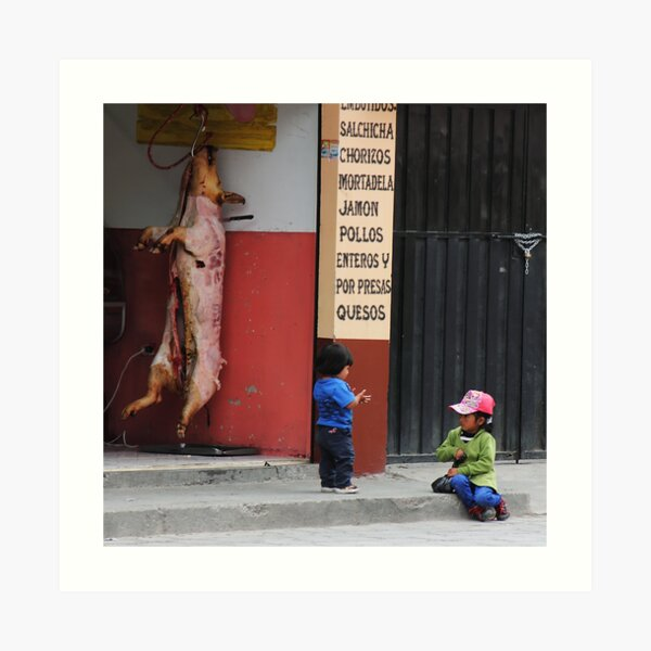 Kids playing in front of butcher shop, Alausi, Ecuador Art Print