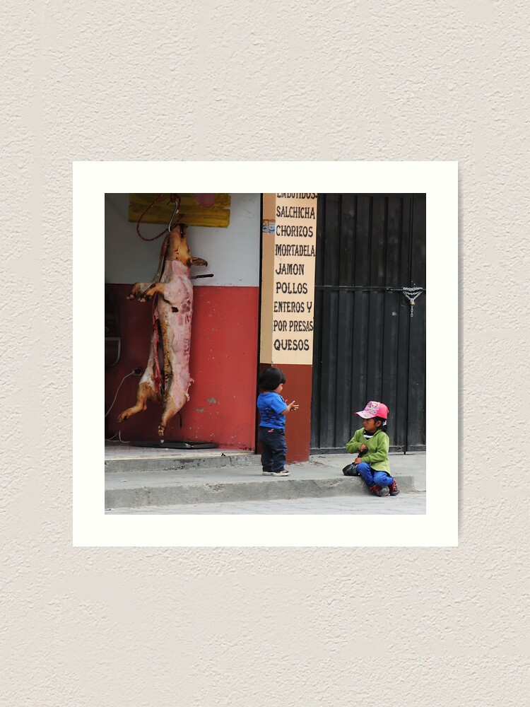 Alternate view of Kids playing in front of butcher shop, Alausi, Ecuador Art Print
