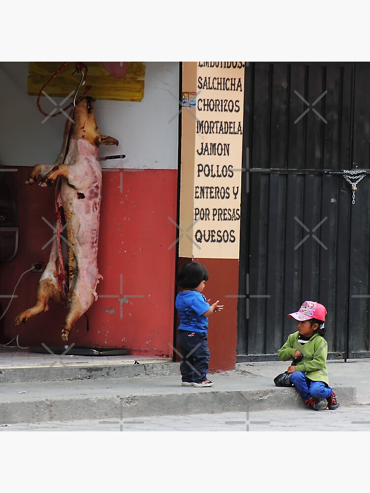 Kids playing in front of butcher shop, Alausi, Ecuador by kpander