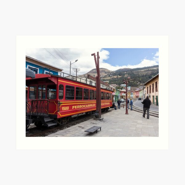 Red Devil's Nose train car on tracks, Alausi, Ecuador Art Print