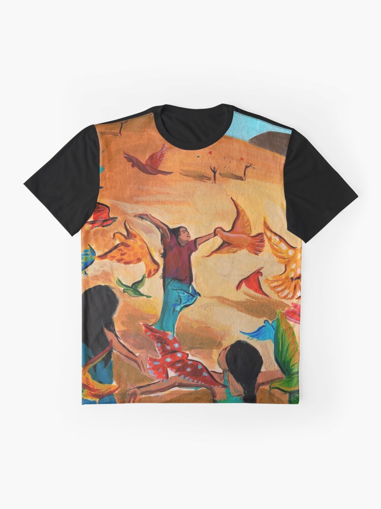 Alternate view of Happy children with Painted birds children's book Illustration Graphic T-Shirt