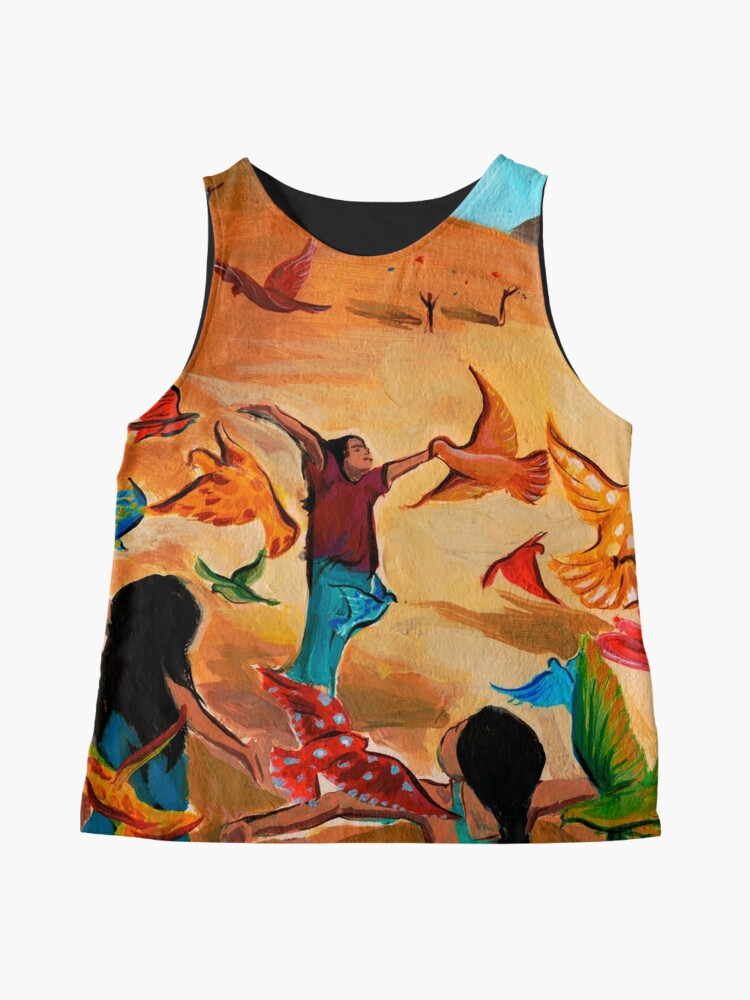 Alternate view of Happy children with Painted birds children's book Illustration Sleeveless Top