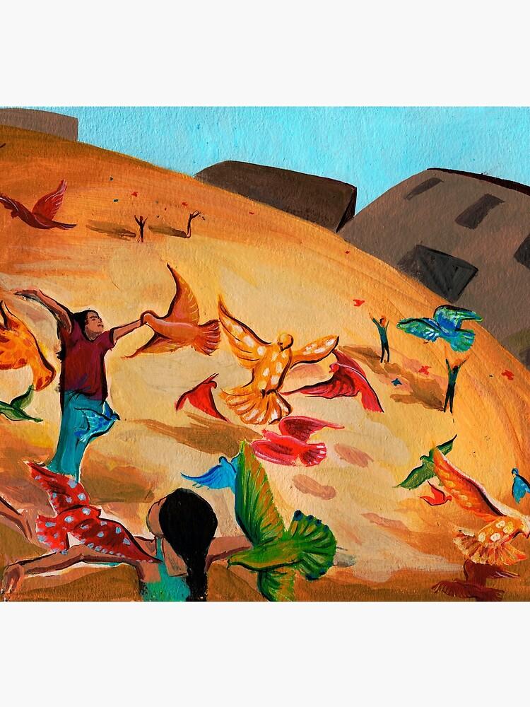 Happy children with Painted birds children's book Illustration by CatarinaGarcia