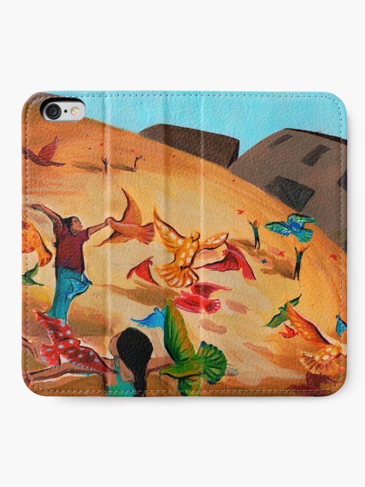 Alternate view of Happy children with Painted birds children's book Illustration iPhone Wallet