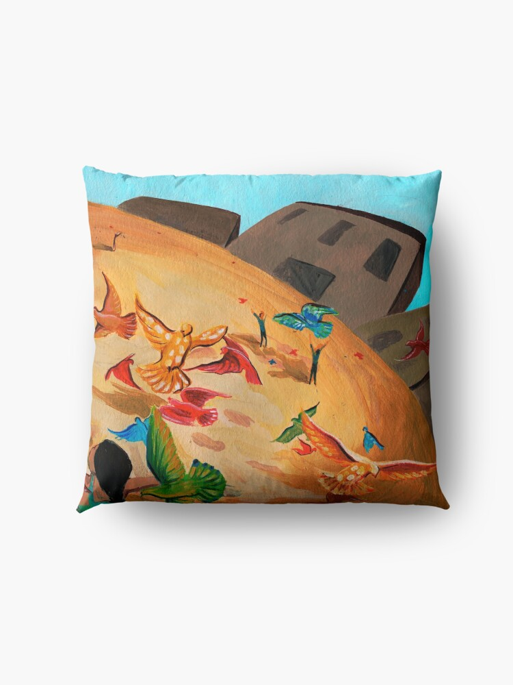 Alternate view of Happy children with Painted birds children's book Illustration Floor Pillow
