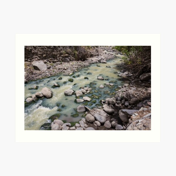 Green rushing water over rocks at base of valley, Sibambe, Ecuador Art Print