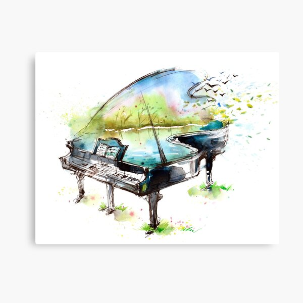 Watercolor Piano Canvas Print