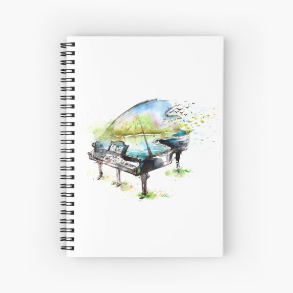Watercolor Piano Spiral Notebook