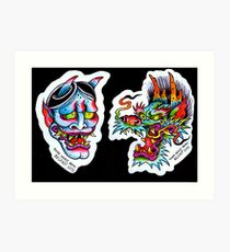 Japanese-Style Tattoo Flash Art Print