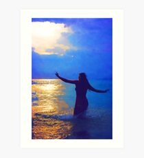 Swimming in the evening ocean Art Print
