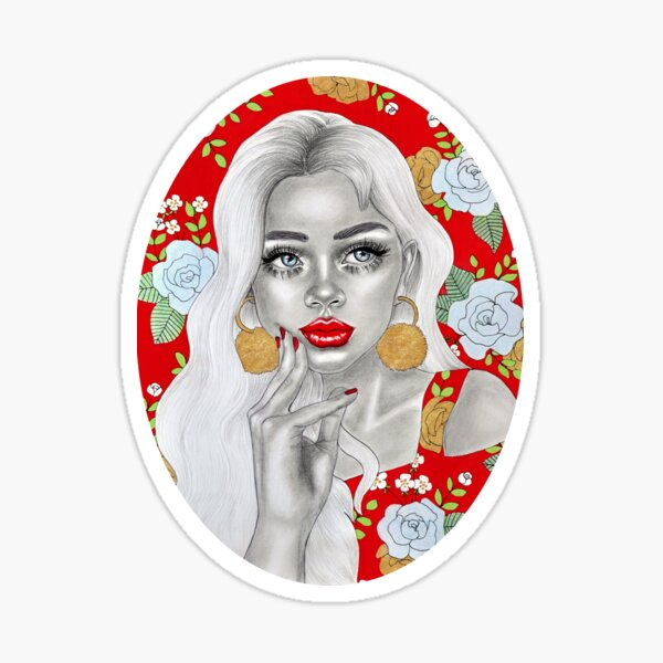 Red flower girl Sticker