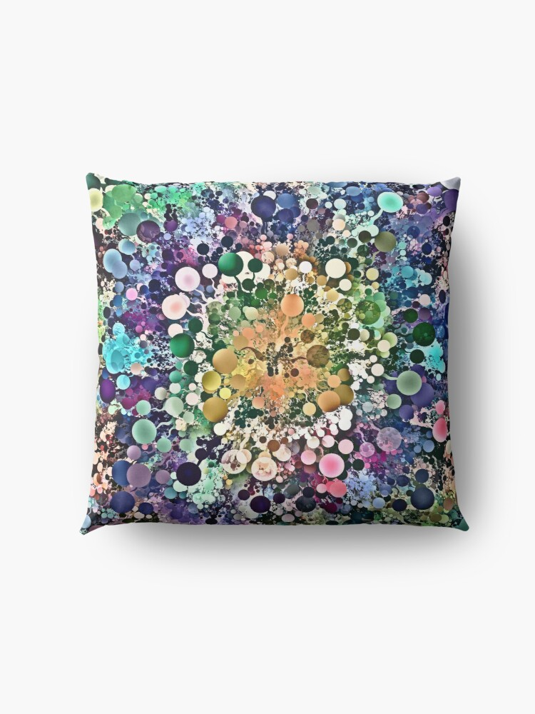 Alternate view of Spectral Circles Abstract Floor Pillow