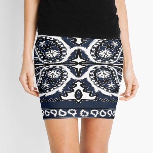 Bandana Design - Traditional Blue Mini Skirt