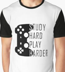 Study Hard Play Harder - Video Games T-shirt Graphic T-Shirt