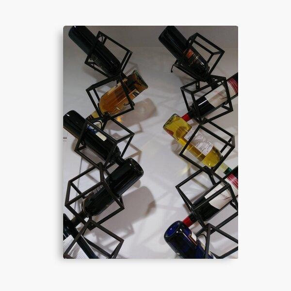 Wine bottles, Shelf, Building, Technopunk, Steampunk, Cyberpunk Canvas Print