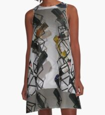 Wine bottles, Shelf, Building, Technopunk, Steampunk, Cyberpunk A-Line Dress