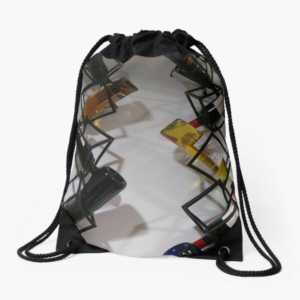 Wine bottles, Shelf, Building, Technopunk, Steampunk, Cyberpunk Drawstring Bag