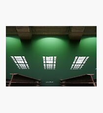 Window reflection on green forebay water of hydro-electric power station Photographic Print