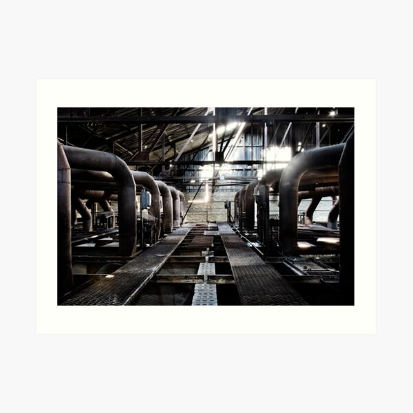 Metal grates, pipes and vents in an abandoned brick making factory Art Print