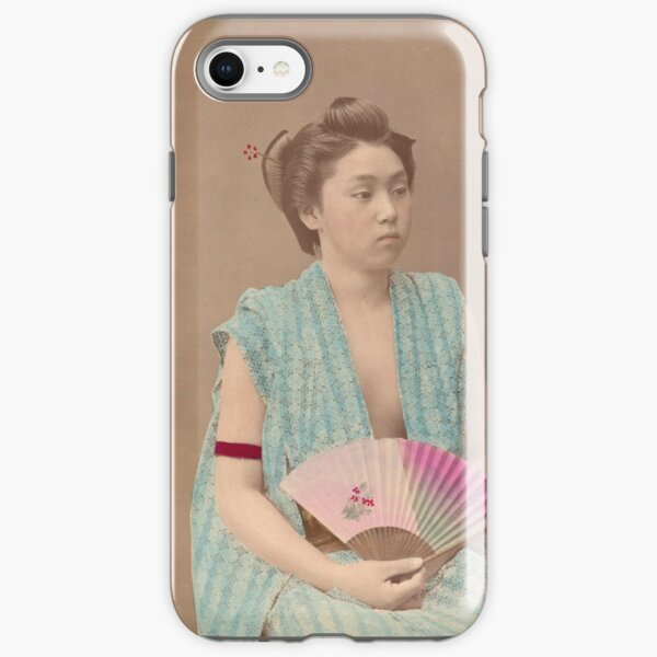 Japanese girl with fan iPhone Tough Case