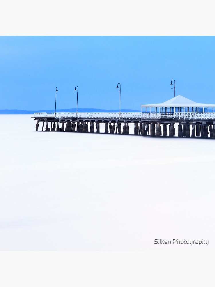 White and Blue Pier by silkenphotos