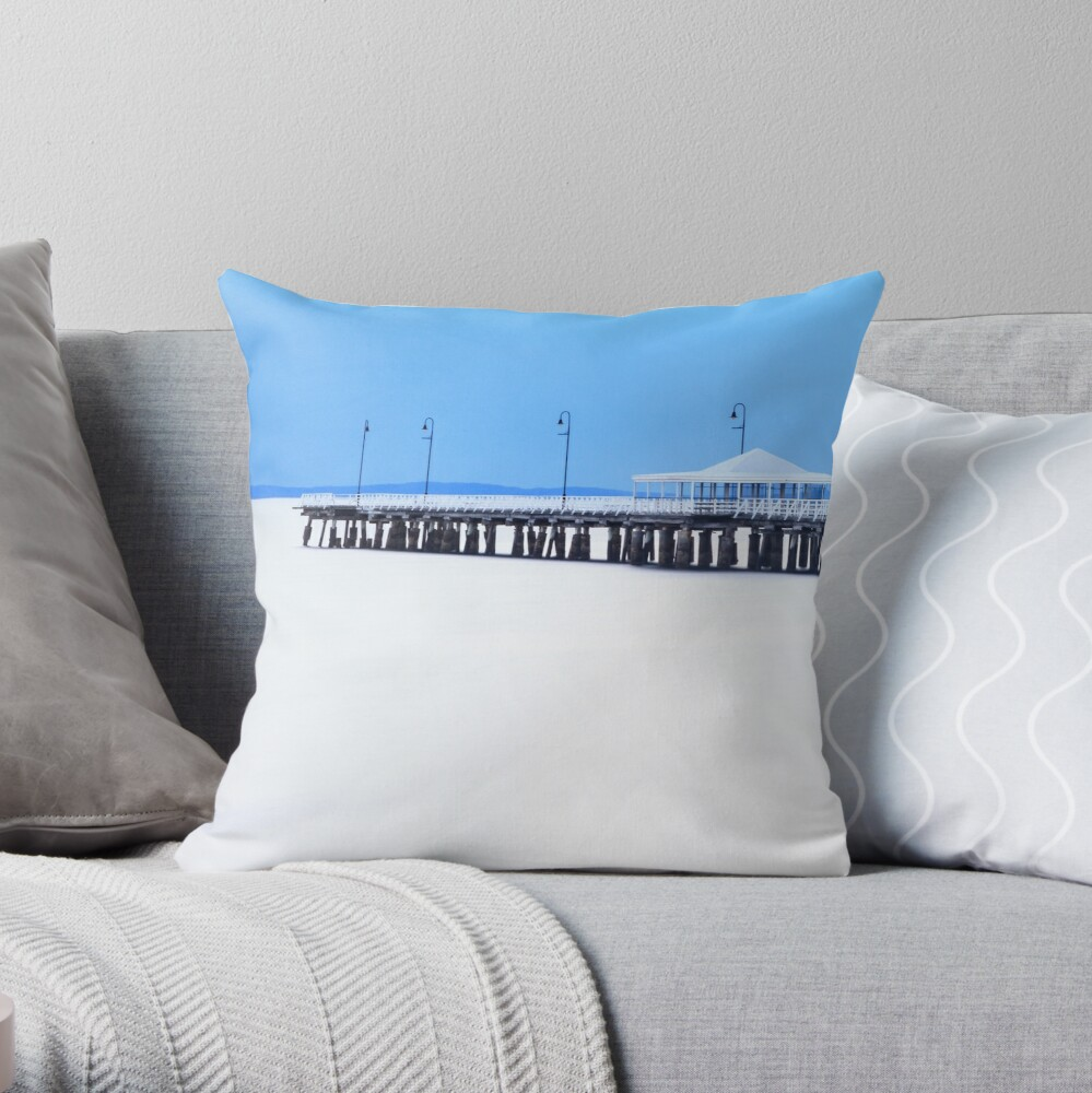 White and Blue Pier Throw Pillow
