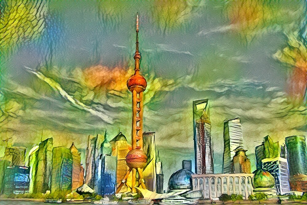 Shanghai City View in green oil painting by wel3kxial
