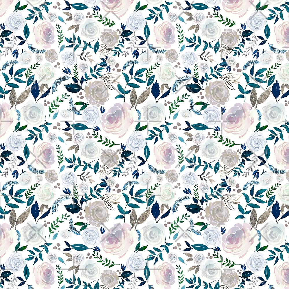 White Vintage Roses Pattern by artonwear