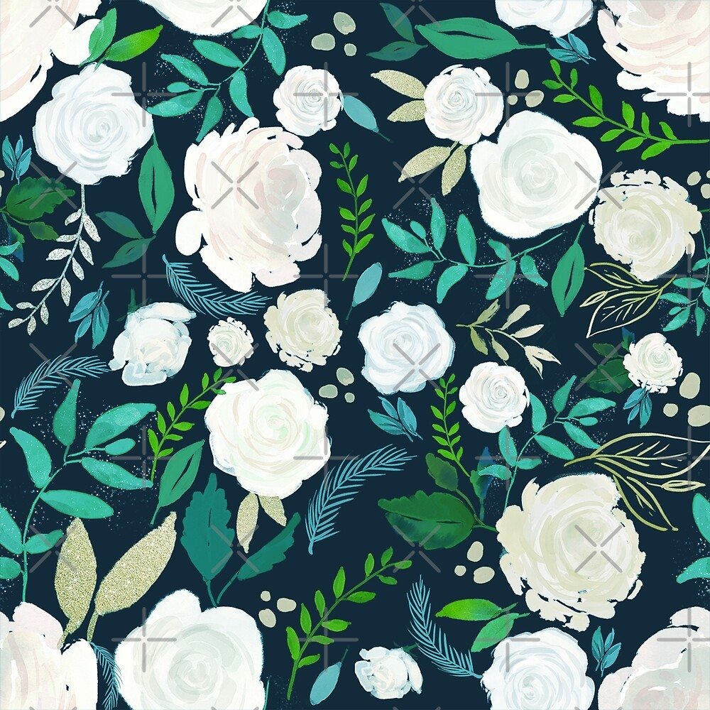 Watercolors White Rose  by artonwear