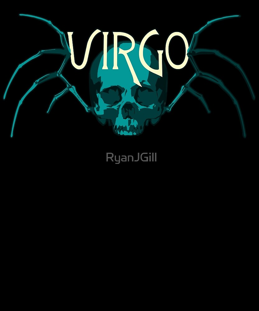 Virgo Blue Skull with Virgin Wing Skeleton - ZODIAC SIGN Shirt  by RyanJGill