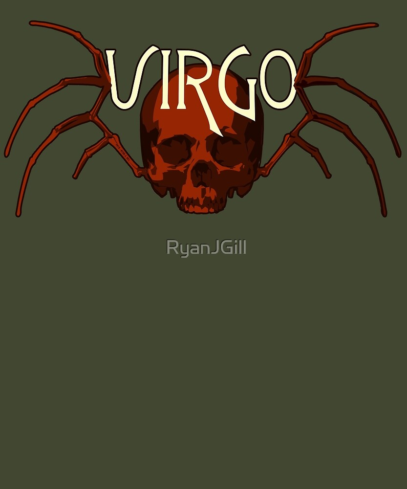 Red Virgo Skull & Virgin Wing Bones for Zodiac Astrology - SHIRT by RyanJGill
