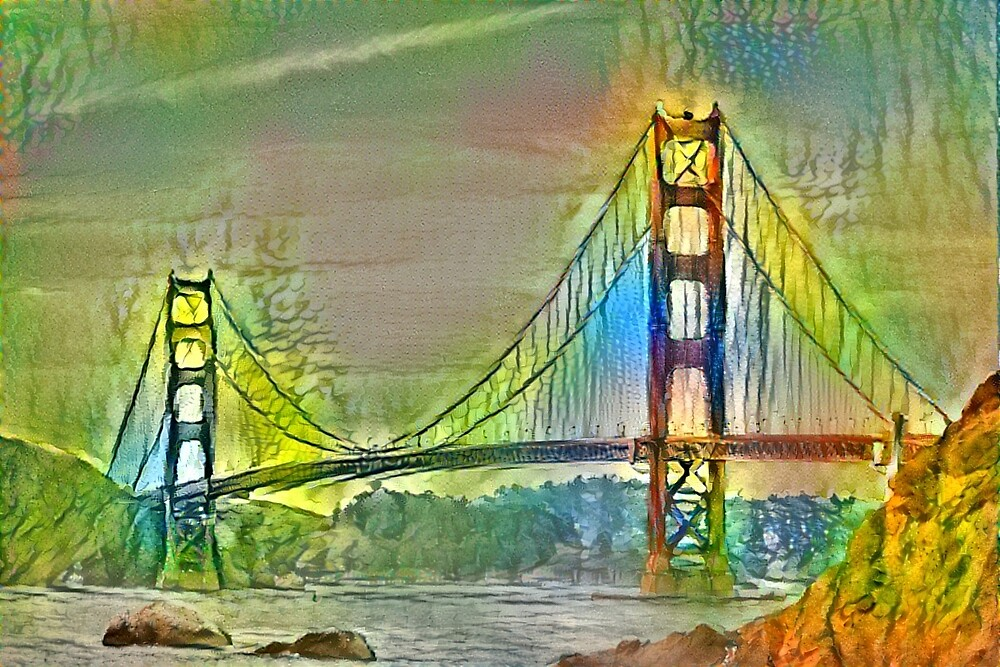 Green oil painting of Golden Gate Bridge San Francisco by wel3kxial