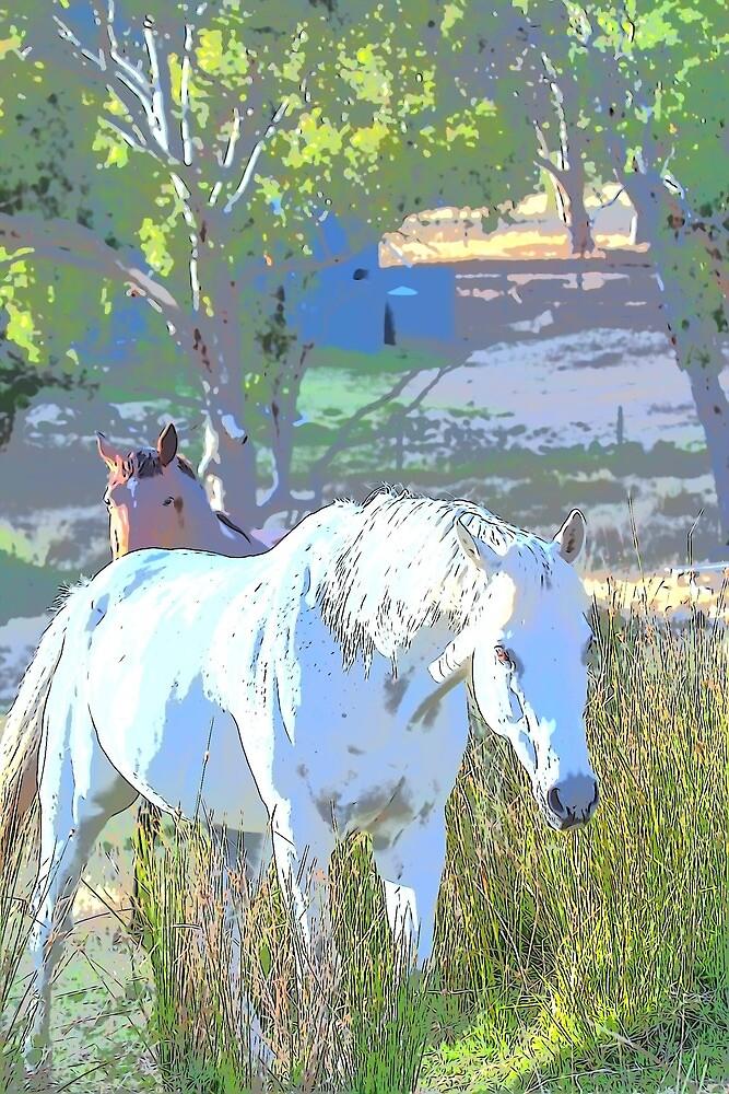 Grey horse on a pastel farm by WordTasker